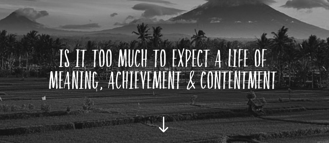 Is it too much to expect a life of meaning, achievement and contentment?